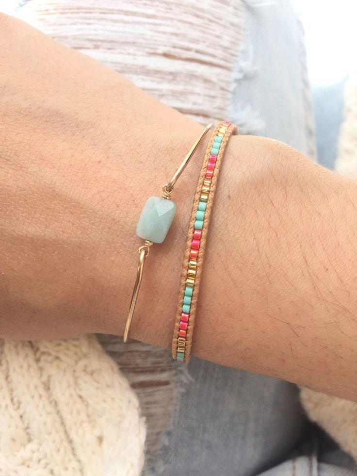 Tendance Bracelets  Tiny Amazonite Bangle / Semi Precious Stone Bracelet / Gold Filled Boho jewelry / Stackable bracelets