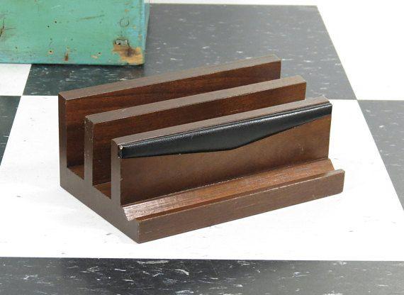 Mid Century Modern Desk Organizer Mail Sorter Mcm Wood Leather Stationery Pen Holder Vintage Scheib Mid Century Modern Desk Modern Desk Desk Organization