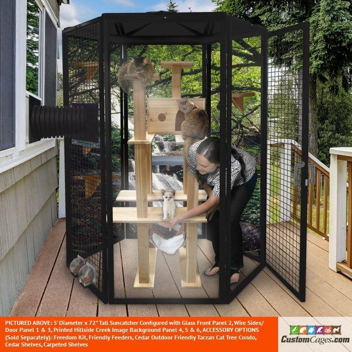 5' Diameter Indoor/Outdoor Cat Cage - 1