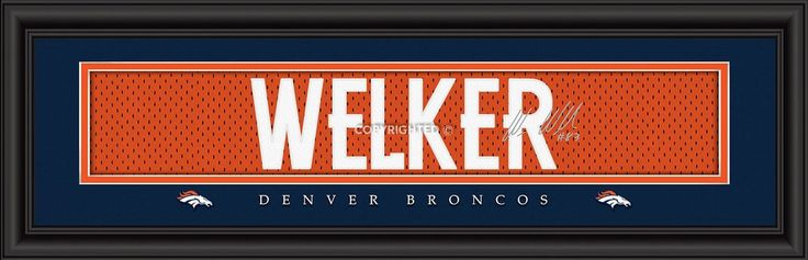 "Denver Broncos Wes Welker Print - Signature 8""x24"""