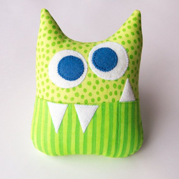 Tooth Fairy Pillow - Personalized Monster - Green Dots and Stripes with Blue Eyes on Etsy, $12.00