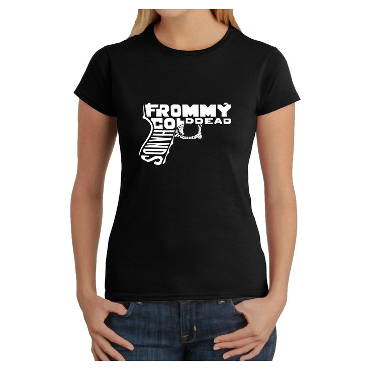 Los Angeles Pop Art Women's Out of My cold Dead Hands Gun T-Shirt