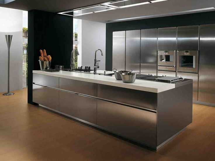 17 best ideas about contemporary stainless steel kitchens for Steel kitchen cabinets