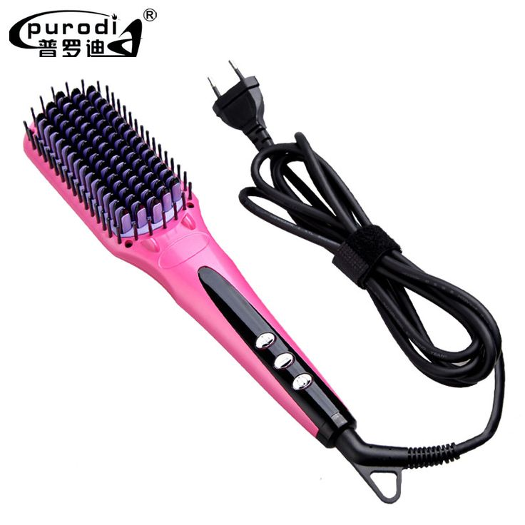 Digital Electric Hair Straightener Brush Comb Detangling Straightening Irons Hair Brush EU/ US/ UK/AU Plug Styling Tools