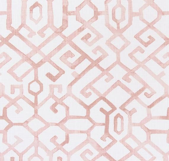 Blush Pink And Ivory Asian Inspired Geometric Home Decor Fabric By