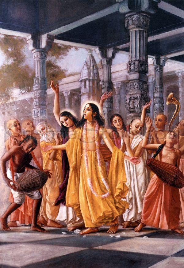 Hindu Art: Lord Caitanya and the Panca Tattva Performing Sankirtan