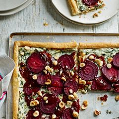 Beetroot, goats' cheese and hazelnut tart - Sainsbury's Magazine. Going to have to try this!