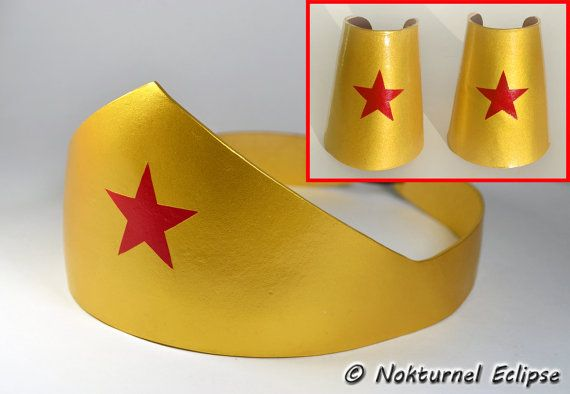 Wonder Woman Gold Tiara Headpiece & Cuffs Adult Set - Justice League Halloween Comic Con Dragoncon Geek Cosplay Superhero Costume Accessory