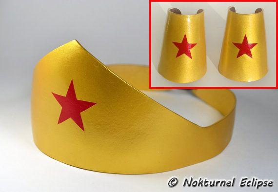 Wonder Woman Gold Tiara Headpiece & Cuffs Adult Set - Justice League Halloween Comic Con Dragoncon Geek Cosplay Superhero Costume Accessory