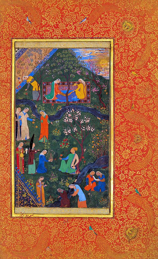 Tehran Museum of Contemporary Art's exhibition on Persian manuscript painting in 2006.    Twice-walled Edenic garden floating amidst an orange vegetal sea.