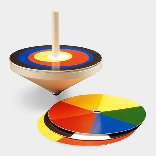 Bauhaus Spinning Top--  Wonder if this can be made from cheap wooden tops with cardstock discs. The kids could create their own designs and see how they 'fly'!