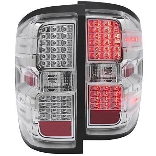 AnzoUSA 311214 Chrome LED Tail Light for Chevrolet Silverado, Clear