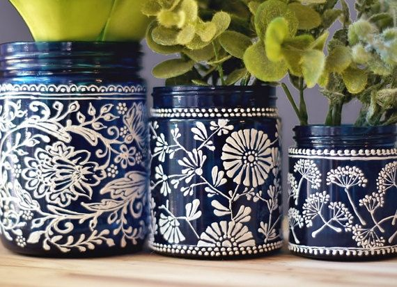 Hostess Gift Botanical Inspired Set of 3 Mason Jar by LITdecor