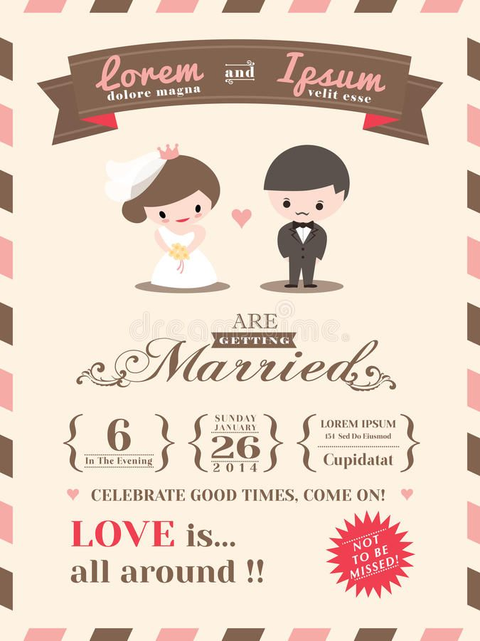 Wedding Invitation Card Template With Cute Groom And Bride Cartoon Sp Electronic Wedding Invitations Wedding Invitation Card Template Invitation Card Maker