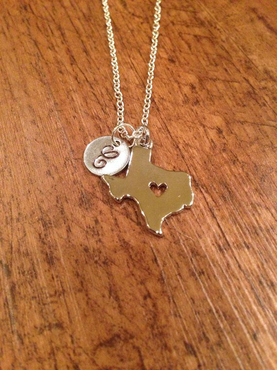 Texas initial necklace  silver Texas charm state by kimsjewelry, $17.00
