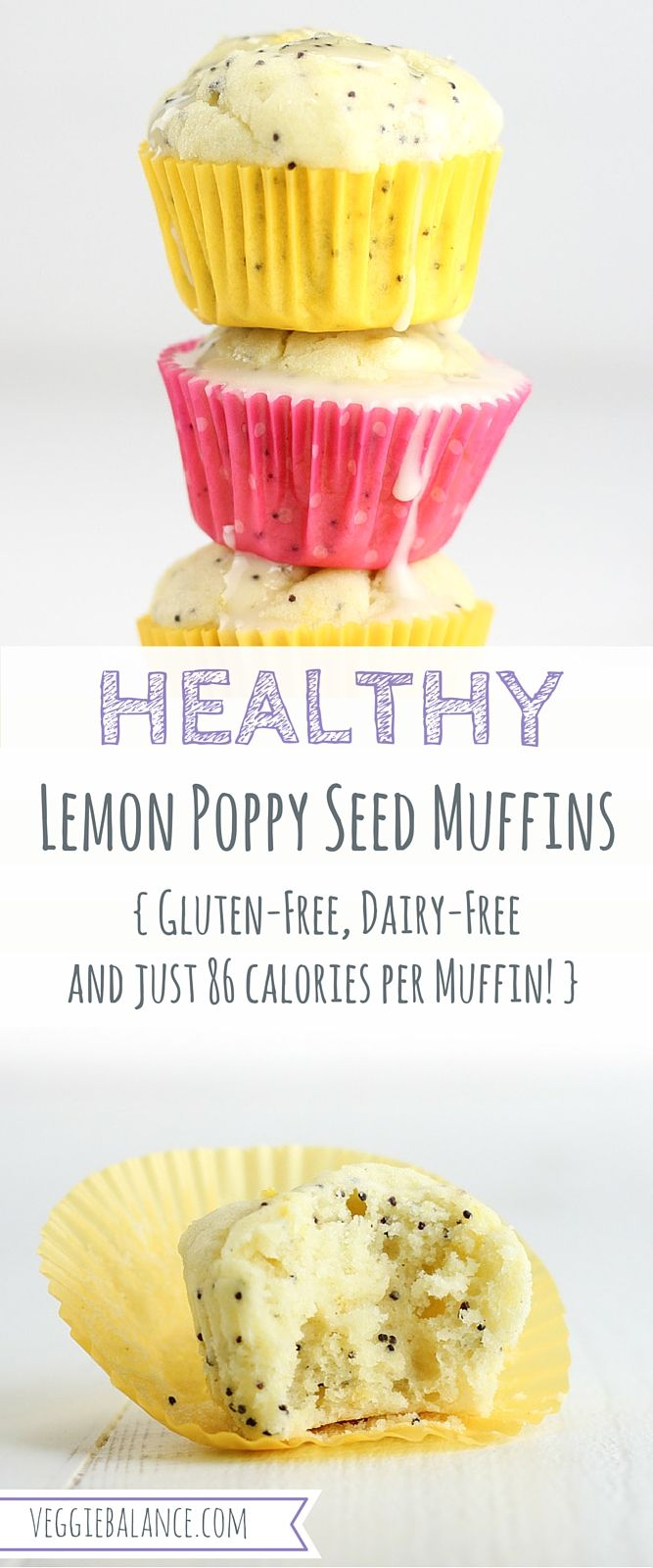 Healthy Lemon Poppy Seed Muffins recipe is super moist made with natural ingredients, gluten-free, dairy-free and low-sugar. Just 86 calories per muffin!