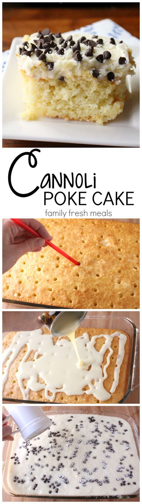Cannoli Poke Cake Recipe. All you do is start with a boxed white cake, poke those holes, and smother it with condensed milk, sweetened creamy cannoli filling! This is not just a cake-it's dessert nirvana. #mascarpone