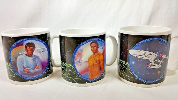 Star Trek Coffee Cup Mug 1991 LOT Of 3 Mr Spock Captain Kirk Starship Enterprise #HamiltonGifts