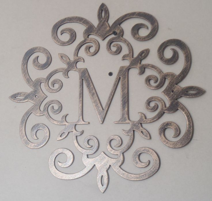 family initial monogram antique look any letter available metal art by tibi291
