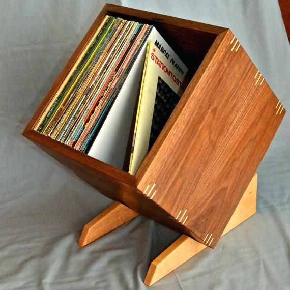 Solid Walnut Record Album Storage Display Box With Birdseye Maple Stand And Accents Vinyl Reco Vinyl Record Storage Vinyl Record Storage Box Record Storage Box