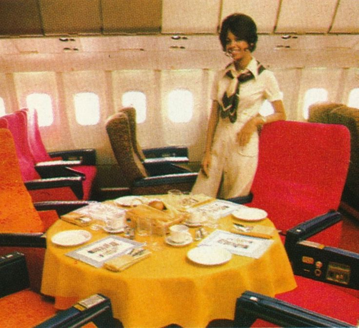 First Class Services First In Class: TWA L1011 First Class Dining-table. Publicity Shot Taken