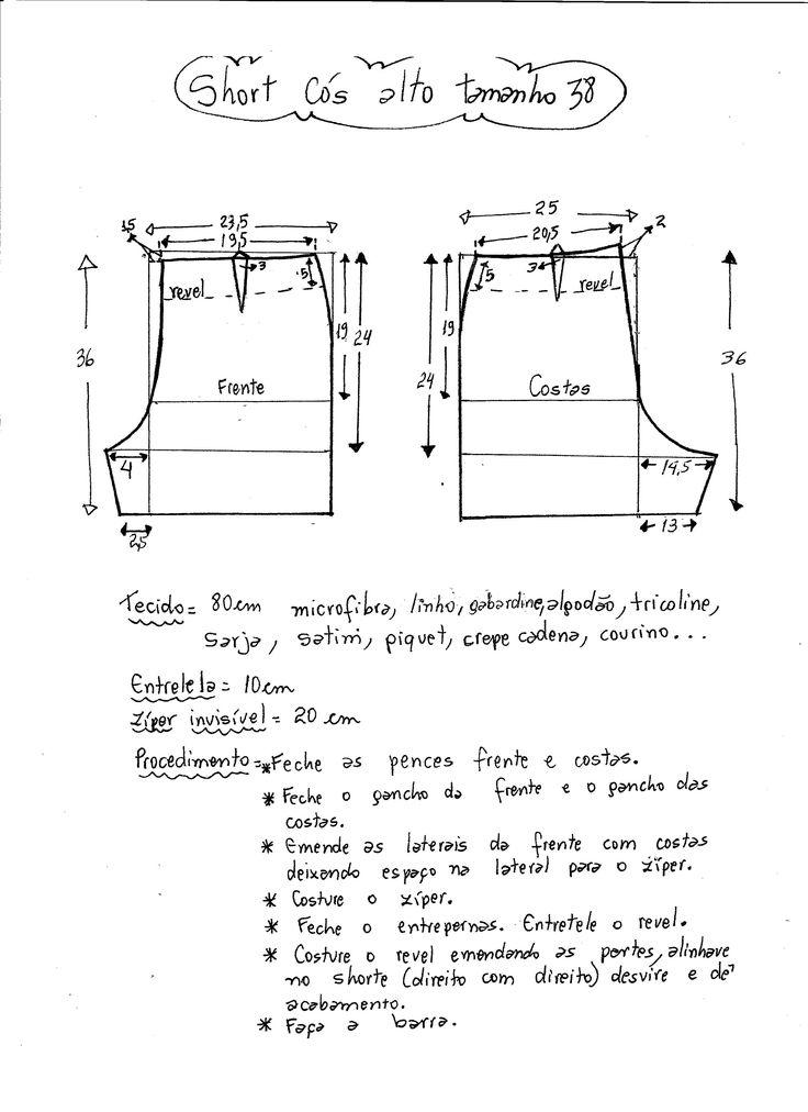 Esquema de modelagem de short cintura alta tamanho 38.