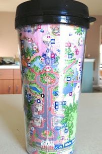 36 DIYs That Will Get The Whole Family Psyched For A Disney Vacation - Travel Mug made from Disney map