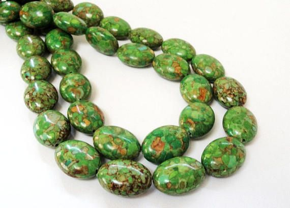 Forest Green Oval Beads  Green Mosaic Howlite Beads  Large