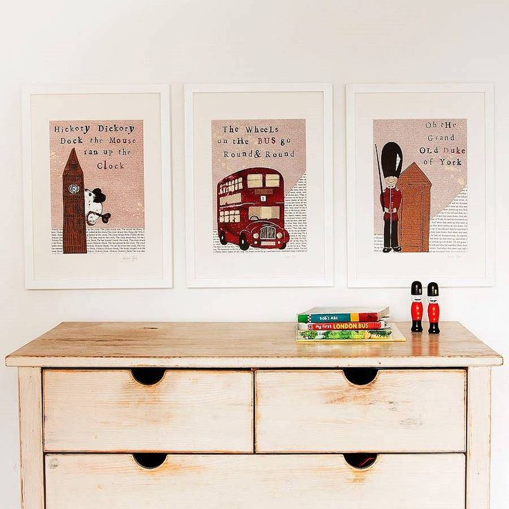 set of three london nursery art prints by helena tyce designs | notonthehighstreet Maybe to go with Elliot's large bus sticker?
