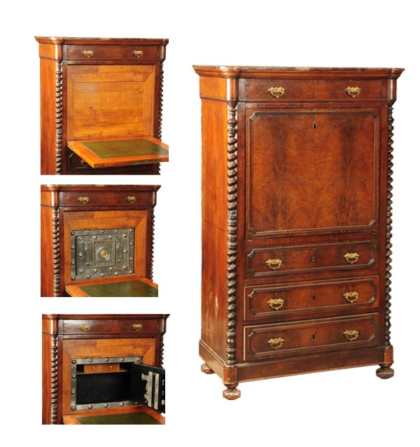 March 30th Auction. From the Guy Zani Jr. Safe Collection: Italian Secretaire Habitante Safe. Circa 1801. With hidden Italian polished hobnail safe. This magnificent 207 year-old piece retains its original finish and hand tooled gold gilt leather writing surface, with all original hardware. It has a key lock drop front door, with trick locks and the original three keys needed to access inside the safe. Weighs approximately 400 pounds. #AntiqueSafe #GuyZani #MorphyAuctions
