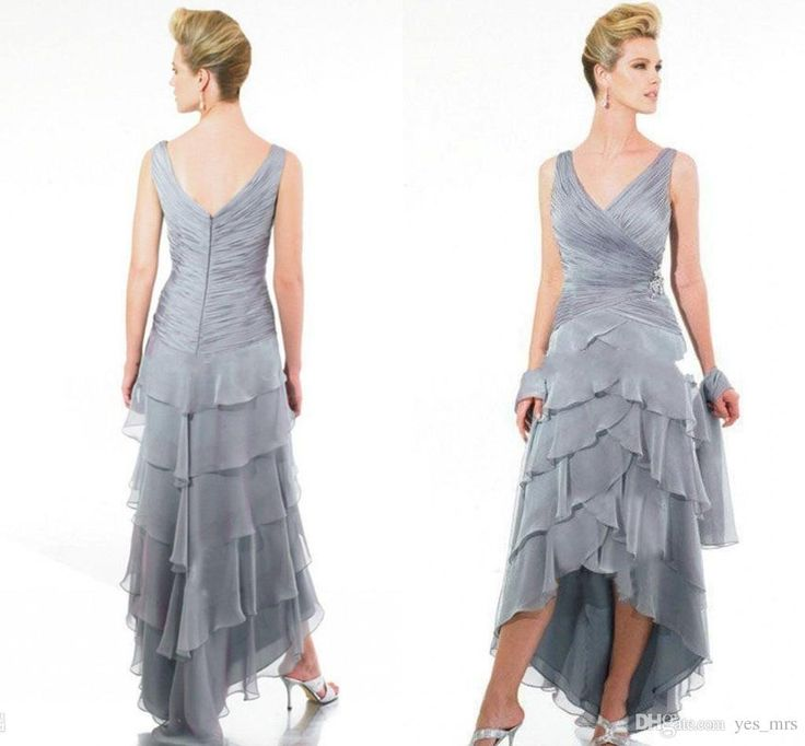 2016 Vintage Mother of the Bride Dresses Women V Neck Silver Chiffon Hi Lo Chiffon Tiered Ruffles Plus Size Formal Wedding Guest Dress Online with $109.55/Piece on Yes_mrs's Store   DHgate.com