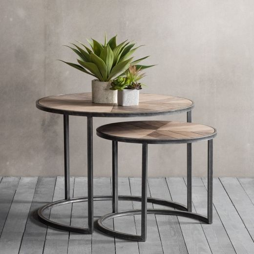 Cult Living Fulton Modern Nesting Coffee Tables, Metal And Wood