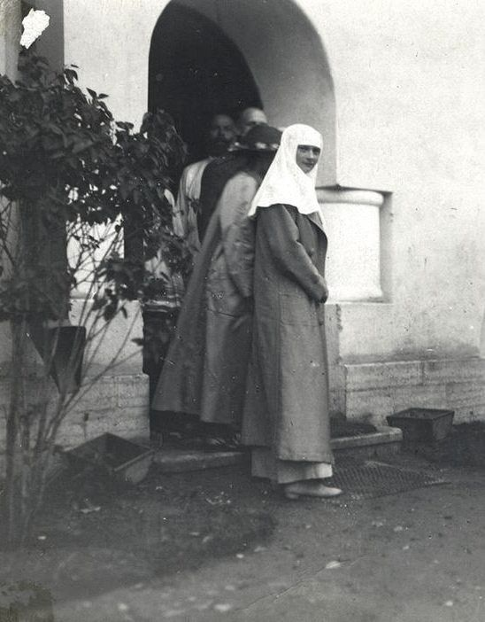 "Grand Duchesses Tatiana and Anastasia Nikolaevna Romanova of Russia leaving the Lazaret at Feodorovsky Gorodok,Tsarskoe Selo. ""AL"""