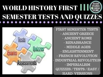 World History Tests First Semester  BOOK:  Prentice Hall World History The Modern World THE FIRST SEMESTER OF WORLD HISTORY THE WHOLE YEAR OF WORLD HISTORY  Here is what is included:  - Ancient Greece and Rome Test / Quizzes- Middle Age Test - Renaissance and Reformation Test - Enlightenment Test / Quizzes - French Revolution Test / Quizzes - Imperialism Test/ Quizzes - Essay Questions for each of the above units - Paragraph Ideas - World History pacing Guide - 3 Essays for each unit…