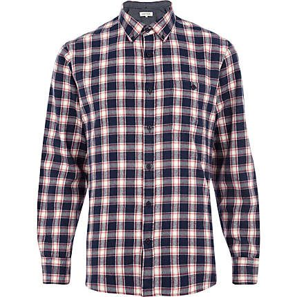 Blue check long sleeve shirt - check shirts - shirts - men