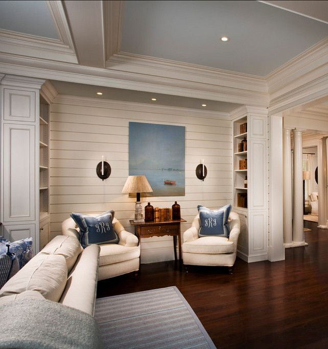 "Family Home with Classic Coastal Interiors The Ceiling is painted in ""Sherwin Williams Timid Blue SW6490″ – Flat."
