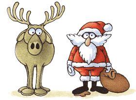 Det här e-kortet är ett roligt julkort med tomte och ren.
