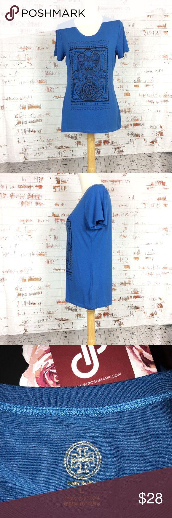 Tory Burch Cobalt Blue Hamas Hand T Tory Burch Hamas Hand T shirt in stunning cobalt blue. Size large, soft stretchy cotton/poly blend fabric. Tory Burch Tops Tees - Short Sleeve