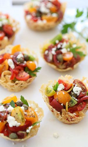 Heirloom tomato bites - posh party food!