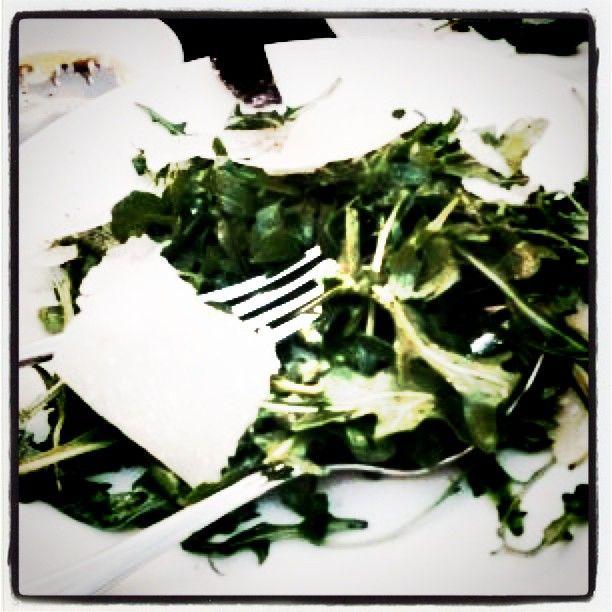 Light arugula salad with shaved Parm at Enoteca.