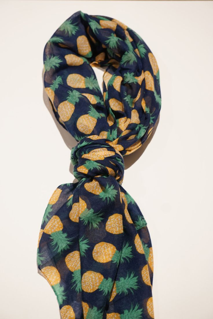 Women Pineapple Fashion Scarves - Blue, yellow & white summer pineapple fruit vicose scarf for girls. by sleepcouture on Etsy
