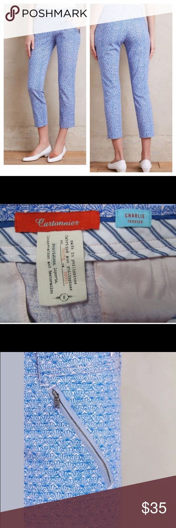 """{Anthropologie} cartonnier trousers EUC Cartonnier Oceanfront Charlie Trouser. Size 0. 98% cotton, 2% spandex. Side zip/button closure. Two front zip pockets. Seashell pattern. 24 3/4"""" inseam, 14.5"""" pulled lightly across waist, 8 1/4"""" rise. No flaws and great condition.    Cotton, spandex Slim, tailored fit Side slant, back welt pockets Side zip Machine wash Imported Anthropologie Pants Ankle & Cropped"""