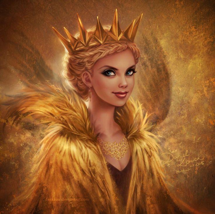 Открытка красивая девушка королева принца золотая блеска