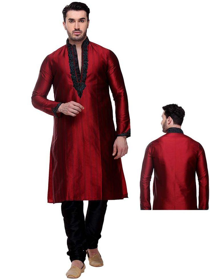 Delightful red color silk kurta designed with thread work. Item Code:SKBL935 http://www.bharatplaza.com/new-arrivals/kurta-pyjamas.html