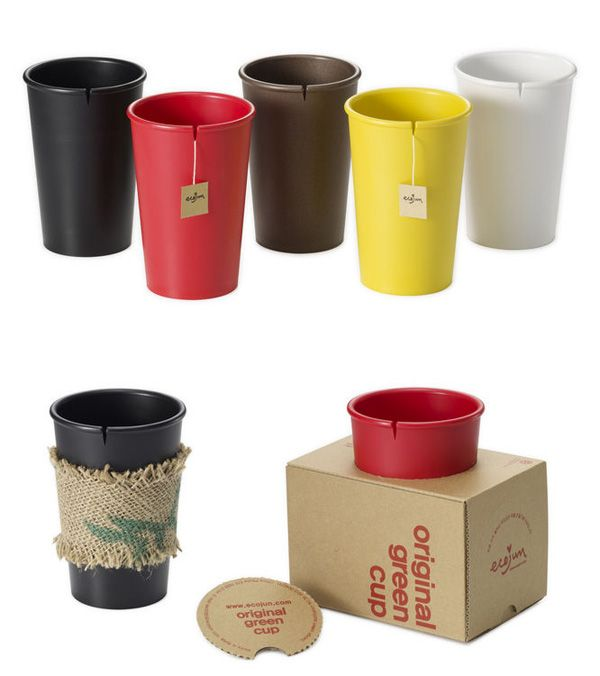 "Original green cup is an eco-friendly product designed similar to cups commonly used in coffee shops. Also ""V"" shaped crack on the top helps to keep your teabag from falling into your cup. Original green cup is made of 100% biodegradable cornstarch plastic."