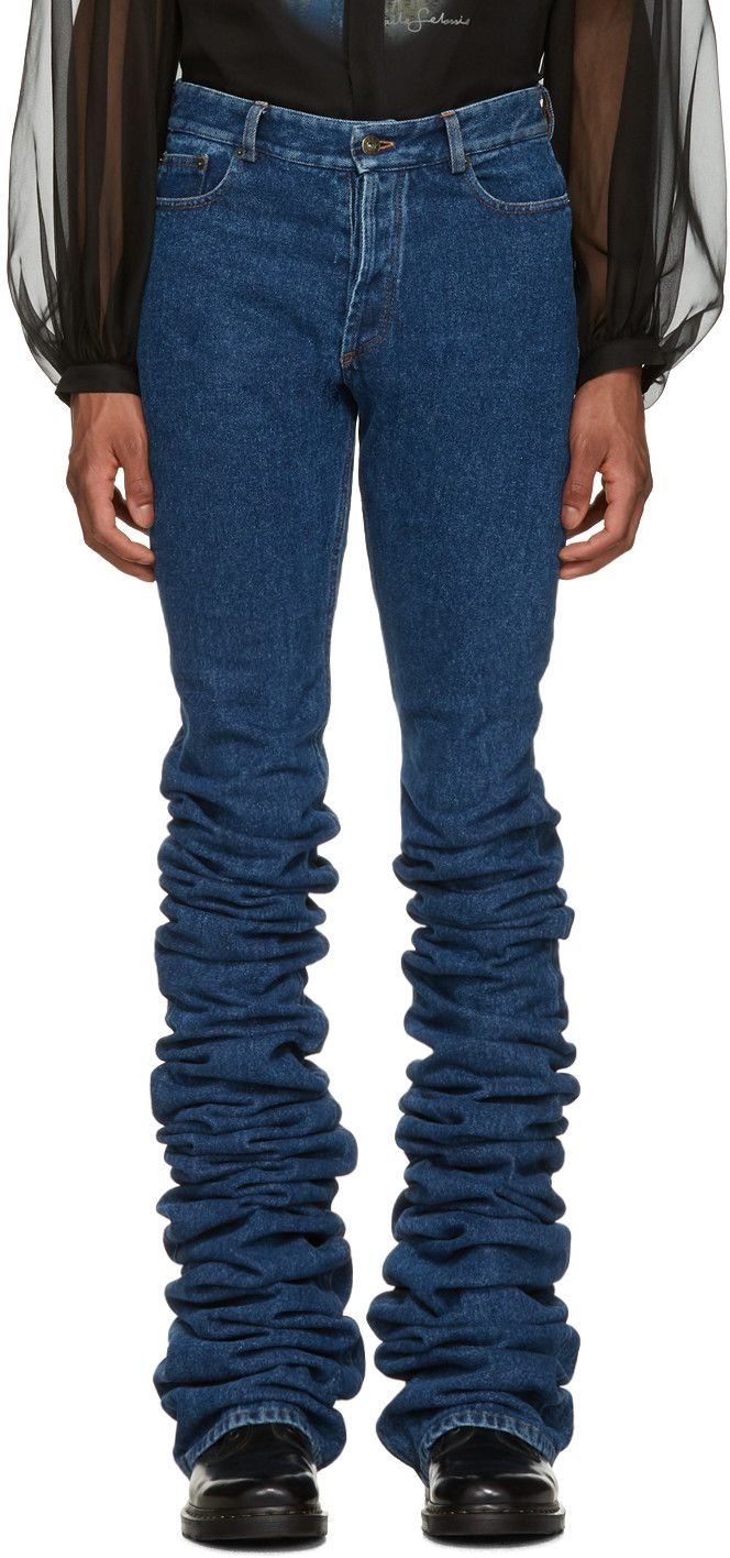 Y/Project - Navy Extra Long Fold Jeans