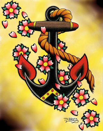 Anchor Flowers By Tyler Bredeweg Tattoo Art Canvas Fine Print