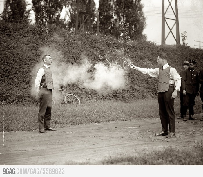 why wouldn't they just use a wooden model to test the bulletproof vest? I wouldn't trust the aim of guns in the 20's.