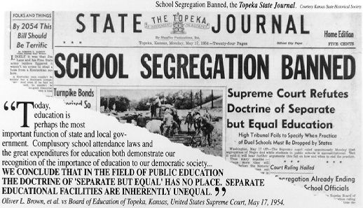 """Brown v. Board of Education (1954) - US Supreme Court decision that struck down racial segregation in public education and declared """"separate but equal"""" unconstitutional."""