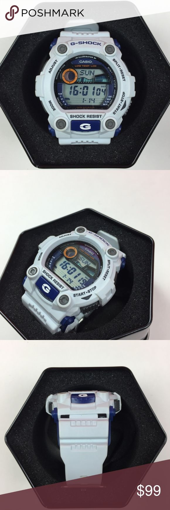 White & Navy Blue Casio G-Shock with case This is an authentic mens G-shock watch. It is in good working condition. It will come with the original box. It is shock Resistant and water resistant. It glow orange when you press the G button. :) It has an adjustable strap to fit any size. Casio Accessories Watches